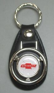 White Chevrolet Red Bow Tie Mini Steering Wheel Leather Keyring 1935 1936 1937