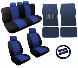 Dual Color Blue black Two Tone Car Seat Covers Floor Mats Set 18pc Racing