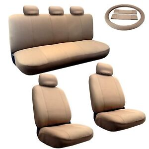 Padded Cloth Beige Tan Seat Covers For Sedan Universal Fit 5 Headrests 14pc Set