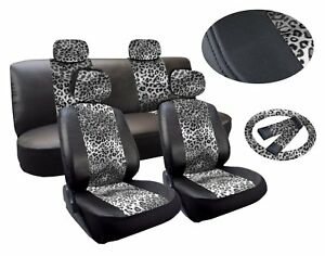 Gray Leopard Deluxe Leatherette 13pc Full Car Seat Cover Set Premium