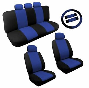 Dual Color Blue Black Two Tone Car Seat Covers Steering Wheel Set 14pc Racing