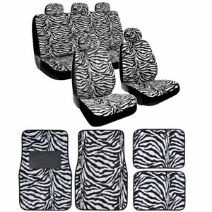 15 piece Safari Animal Print Automotive Interior Gift Set 2 Zebra Black And