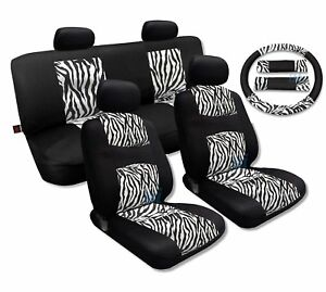 White Zebra Accent Fur Black Mesh Cool Breeze Animal Print Seat Cover Set