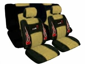 A Set Of Low Back Type R Flame Racing Style Front Bucket Seat Covers Head