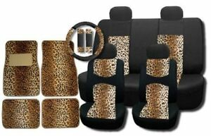 New And Exclusive Mesh Animal Print Interior Set Brown Leopard 15pc Seat