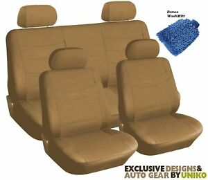 Tan Synthetic Faux Leather Beige Seat Covers 4 Headrests Steering Wheel