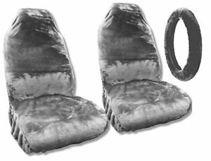 Synthetic Sheepskin Seat Covers Pair Steering Wheel Cover Gray Plush Fleece