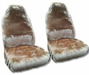 Synth Sheepskin Seat Cover Pair Beige Tan Plush Fleece For Toyota Camry