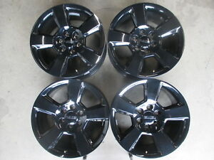 Four 2016 2018 Gmc Sierra Yukon Factory 20 Black Wheels Oem 5806 Silverado Tahoe