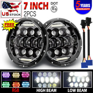 For Jeep Wrangler Jk Tj Lj Halo Rgb 7 Led Headlights Drl Lights Combo Kit 2pcs