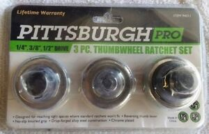 Pittsburgh Pro 3 Piece Thumb Wheel Ratchet Set 1 4 3 8 1 2 Drive