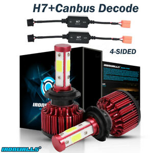 4 Sides H7 1800w Cree Led Headlight Conversion Light Bulbs With Canbus Decoder