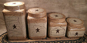 Primitive Crackle Tan Brown Star Glass Canisters Set Of 4 Country Decor
