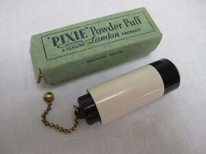 Vintage 1930 S Black White Pixie Celluloid Powder Puff Brush Original Box