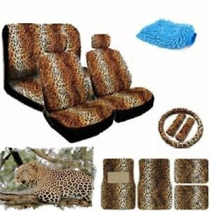 New Premium Grade 16 Pieces Brown Leopard Interior Seat Cover Set With Front