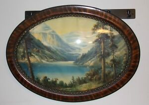 Oval Convex Bubble Glass Picture Frame 23 X 17 Hobnail Motif Mountain Scene