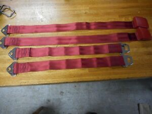 New 1965 1966 1967 Ford Mustang Front Seat Belts Red Pair