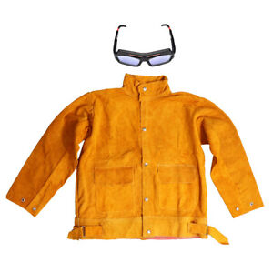 Welding Coat Leahter Cowhide Jacket Flame Resistant Goggles Glasses