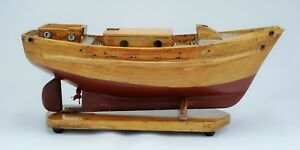 Antique Model Sailboat Or Pond Yacht On Stand From Maine Circa 1910