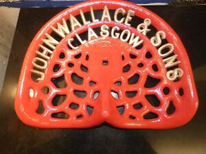 Wallace Glasgow Vintage Cast Iron Tractor Implement Seat Farm Collectables