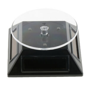 Solar Showcase Turntable Rotating Jewelry Watch Ring Display Stand Black