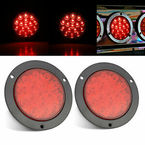 2x Red Led Truck Trailer Stop Turn Tail Brake 4 Inch Round Light Sealed