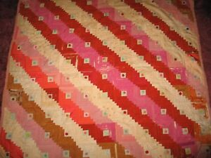 Antique Log Cabin Quilt 67 X 70 Vintage Silk Cotton Wool Hand Tied