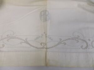 Antique Linen Sheet Blanket Cover W Buttonholes Cutwork Embroidery Monogram Ab