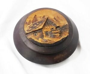 Antique Treen Wood Lidded Bowl Very High Relief Hand Carved Lid Signed