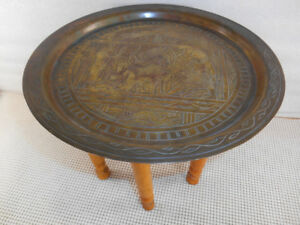 Vintage Egyptian 11 Etched Brass Table Tray Folding Wood Legs 8 1 4 Tall Egypt