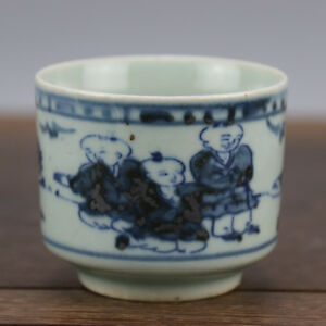 Old Chinese Ming Dyn Wan Li Blue And White Porcelain Tea Cup Tongzi Kids Cup
