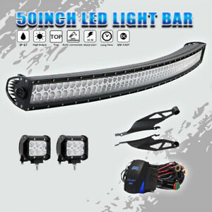 50inch Curved Led Light Bar 2x4 Pods Offroad Suv Atv Fit 07 14 Toyota Tundra