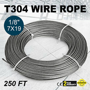 250ft 1 8 7x19 Wire Rope Cable Push pull T 304 Stainless Steel Machinery