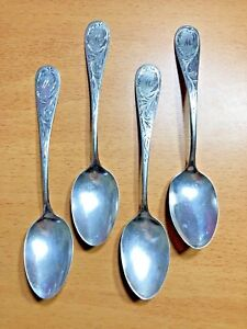 Rare Set Of 4 Etched Antique Sterling Silver Teaspoons By M C Connor Mid 1800s