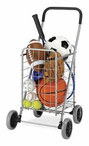 Jumbo Folding Shopping Cart With Wheels Heavy Duty Size Basket Laundry Grocery