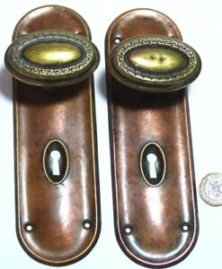 Pair Antique Nouveau Regency Revival Copper Brass Door Handles Knobs