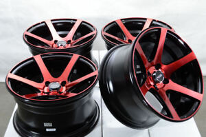 15 4x100 Red Wheels Fits Miata Mini Cooper Cobalt Civic Jetta Corolla 4 Lug Rims