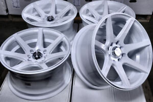 15x8 4x100 4x114 3 White Rims Fits Scion Ia Iq Xb Civic Mini Cooper 4 Lug Wheels