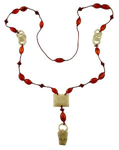 Fine 19thc Antique Chinese Carved White Jade Carnelian Necklace