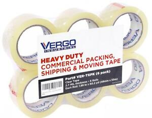Vergo Industrial Heavy Duty Clear Packing Tape 2 7mil For Moving Packaging