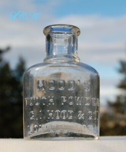 Nice Antique Hood S Tooth Powder Lowell Mass Embossed Bottle From 1800 S
