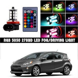 2x Multi Color Rgb Led Fog Light Wireless Ir Remote Kit For Toyota Prius 10 2018