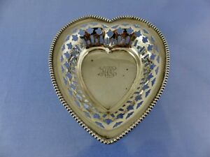 Beaded Pierced Heart Shaped Sterling Dish 456 By Meriden Brittania Co Kcc