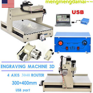 4 Axis 3040t Router 3d Engraver Wood Engraving Drilling Milling Desktop Usb 400w