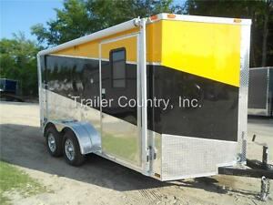 New 2019 7x14 7 X 14 V nosed Enclosed Cargo Triple Color Motorcycle Trailer Ramp