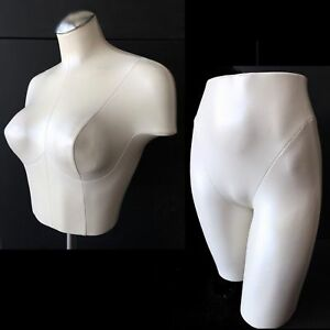Pearl White Female Mannequin Bust Bottom Butt Form Stand Panty Bra Display Set