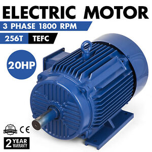 20 Hp Electric Motor 256t 3 Phase 1800rpm Tefc 208 230 460 V 53 5 26 8 A