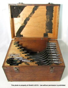 12 pc Mitutoyo Outside Micrometer Set W Wood Case Size Approx 0 12