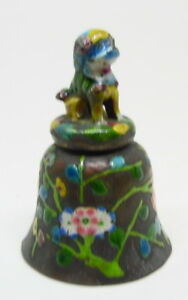 Antique Enameled Chinese Figural Foo Dog Floral Dinner Table Bell Free Ship
