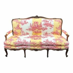 Antique Louis Xv Style Gilt Wood Sofa Settee W Brunschwig Fils Water Garden